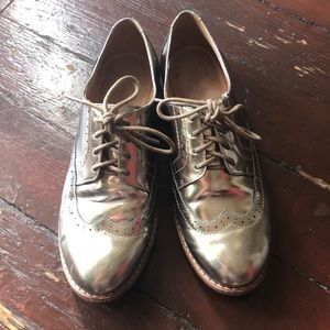 Silver Madewell Oxfords size 6